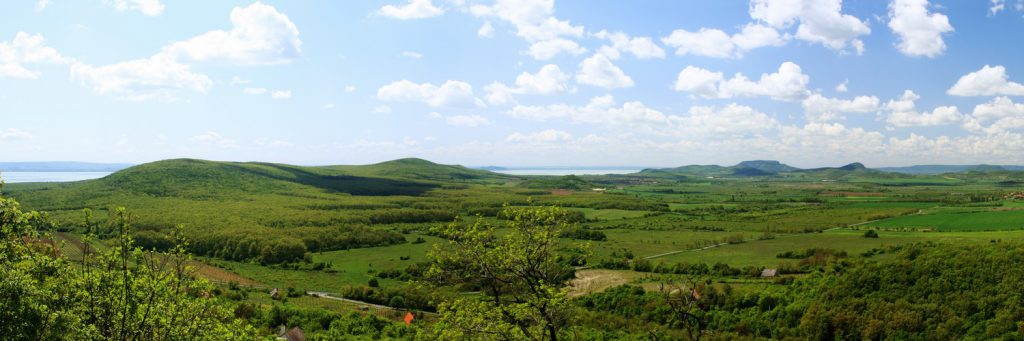 360 panoramic image from a field. A tableland in a Hungarian mountains near Lake Balaton. Stitched from 15 images.