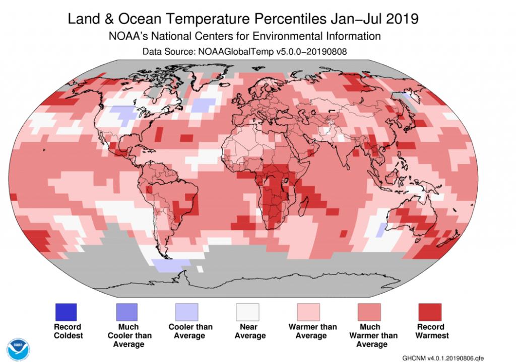 2019 július: 0,95 Celsius-fokkal volt melegebb, mint a 20. századi júliusi átlaghőmérséklete