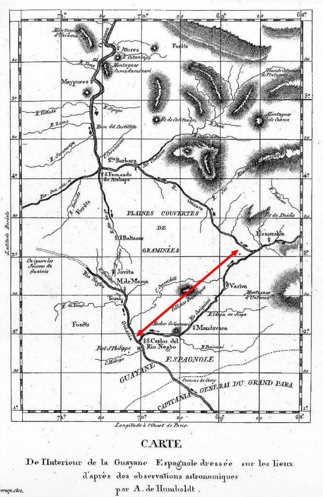 A Casiquiare folyó a természettudós térképén