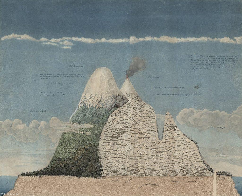 A geográfus illusztrációja a Chimborazo vulkán növényzeti öveiről